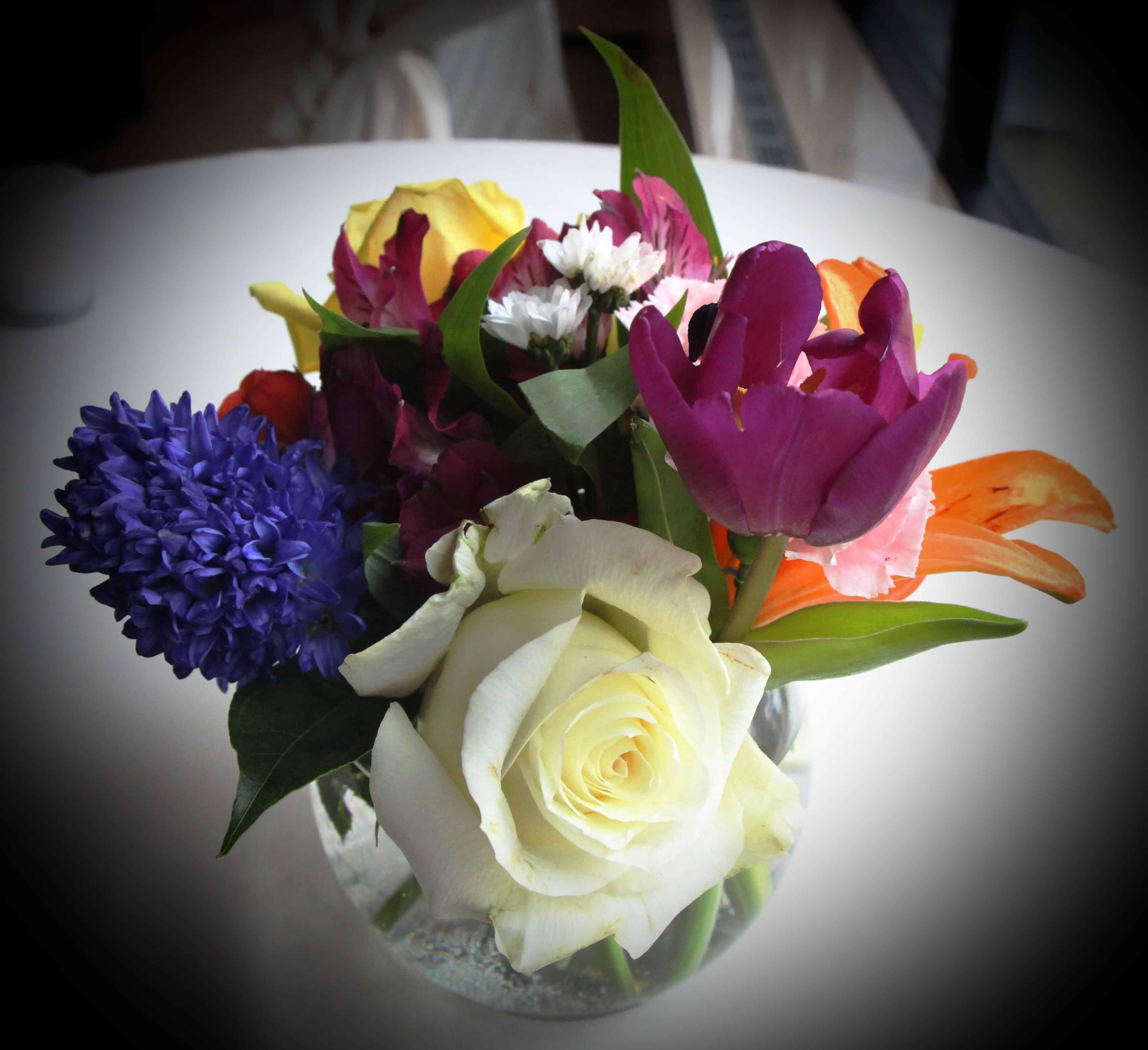 Gorgeous floral arrangements graced the room