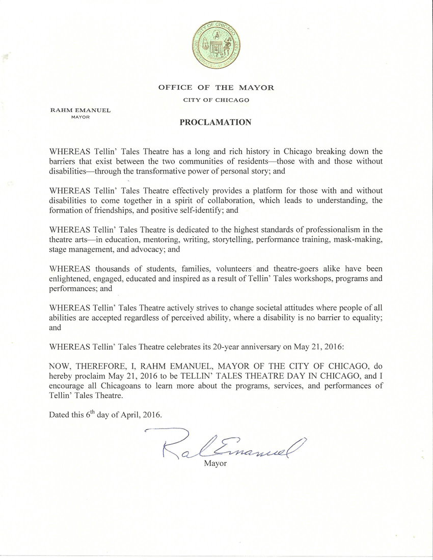 Proclamation from Chicago Mayor